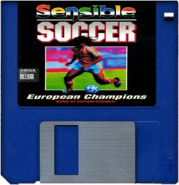 Cartridge artwork for Sensible Soccer: European Champions on the Commodore Amiga.