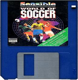 Cartridge artwork for Sensible World of Soccer on the Commodore Amiga.
