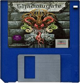 Cartridge artwork for Shadowgate on the Commodore Amiga.