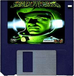 Cartridge artwork for Shadoworlds on the Commodore Amiga.