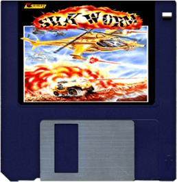 Cartridge artwork for Silk Worm on the Commodore Amiga.