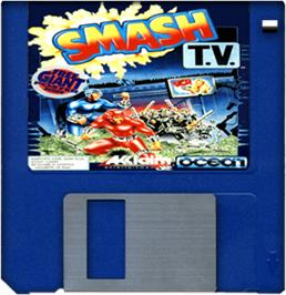 Cartridge artwork for Smash T.V. on the Commodore Amiga.