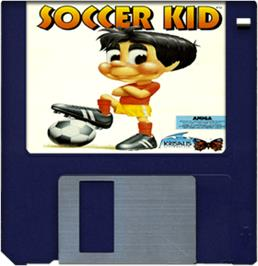 Cartridge artwork for Soccer Kid on the Commodore Amiga.