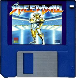 Cartridge artwork for Speedball on the Commodore Amiga.