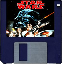 Cartridge artwork for Star Wars: The Empire Strikes Back on the Commodore Amiga.