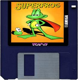 Cartridge artwork for Super Frog on the Commodore Amiga.