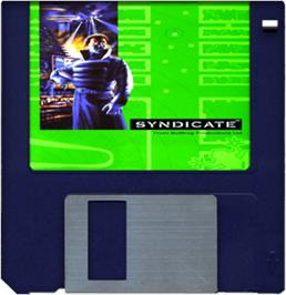 Cartridge artwork for Syndicate: American Revolt on the Commodore Amiga.