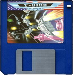 Cartridge artwork for T-Bird on the Commodore Amiga.