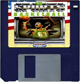 Cartridge artwork for TV Sports: Basketball on the Commodore Amiga.