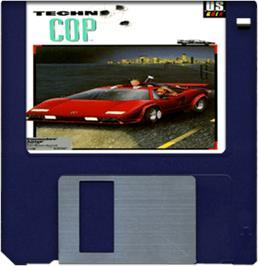 Cartridge artwork for Techno Cop on the Commodore Amiga.