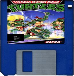 Cartridge artwork for Teenage Mutant Ninja Turtles on the Commodore Amiga.