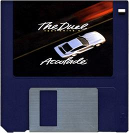 Cartridge artwork for Test Drive II: The Collection on the Commodore Amiga.