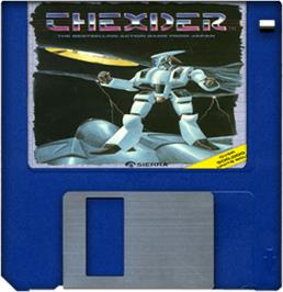 Cartridge artwork for Thexder on the Commodore Amiga.