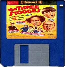 Cartridge artwork for Three Stooges on the Commodore Amiga.