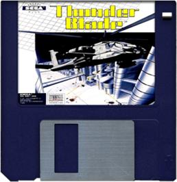 Cartridge artwork for Thunder Blade on the Commodore Amiga.