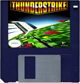 Cartridge artwork for Thunder Strike on the Commodore Amiga.