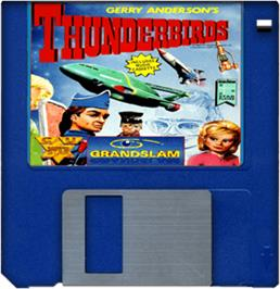 Cartridge artwork for Thunderbirds on the Commodore Amiga.