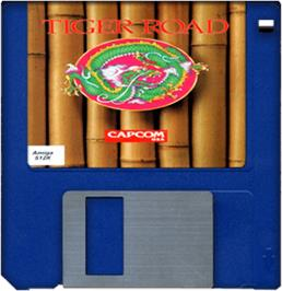 Cartridge artwork for Tiger Road on the Commodore Amiga.