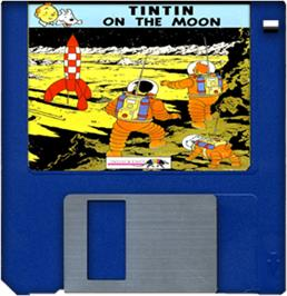 Cartridge artwork for Tintin on the Moon on the Commodore Amiga.