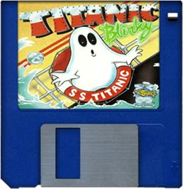 Cartridge artwork for Titanic Blinky on the Commodore Amiga.