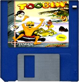 Cartridge artwork for Toobin' on the Commodore Amiga.
