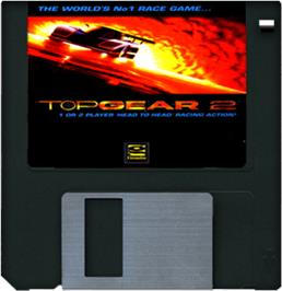 Cartridge artwork for Top Gear 2 on the Commodore Amiga.
