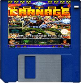 Cartridge artwork for Total Carnage on the Commodore Amiga.
