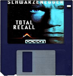 Cartridge artwork for Total Recall on the Commodore Amiga.