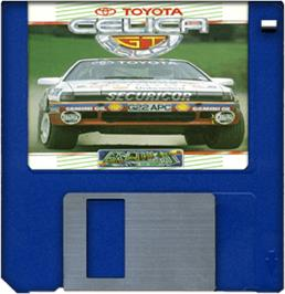 Cartridge artwork for Toyota Celica GT Rally on the Commodore Amiga.