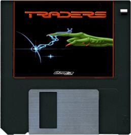 Cartridge artwork for Traders: The Intergalactic Trading Game on the Commodore Amiga.