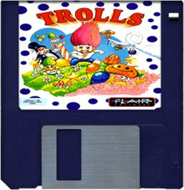 Cartridge artwork for Trolls on the Commodore Amiga.