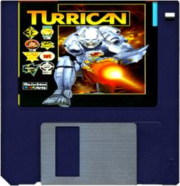 Cartridge artwork for Turrican on the Commodore Amiga.