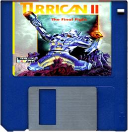 Cartridge artwork for Turrican II: The Final Fight on the Commodore Amiga.
