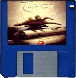 Cartridge artwork for Tusker on the Commodore Amiga.