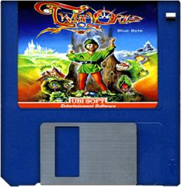 Cartridge artwork for TwinWorld: Land of Vision on the Commodore Amiga.