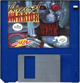 Cartridge artwork for Universal Warrior on the Commodore Amiga.