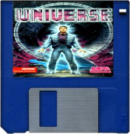 Cartridge artwork for Universe on the Commodore Amiga.