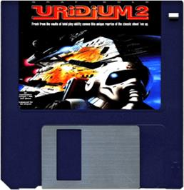 Cartridge artwork for Uridium 2 on the Commodore Amiga.