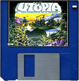 Cartridge artwork for Utopia: The New Worlds on the Commodore Amiga.