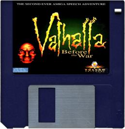 Cartridge artwork for Valhalla: Before the War on the Commodore Amiga.