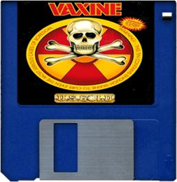 Cartridge artwork for Vaxine on the Commodore Amiga.