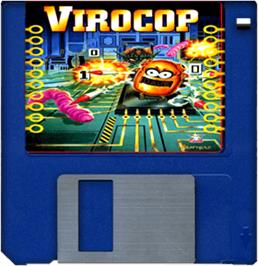 Cartridge artwork for Virocop on the Commodore Amiga.
