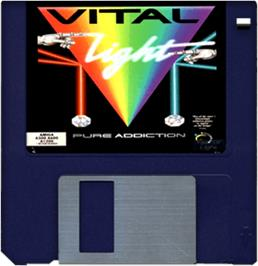 Cartridge artwork for Vital Light on the Commodore Amiga.