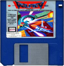 Cartridge artwork for Volfied on the Commodore Amiga.