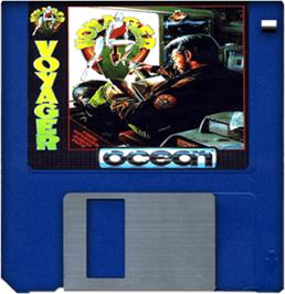 Cartridge artwork for Voyager on the Commodore Amiga.