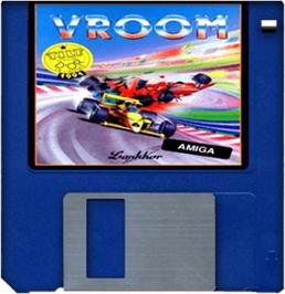 Cartridge artwork for Vroom on the Commodore Amiga.