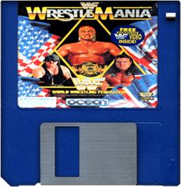 Cartridge artwork for WWF Wrestlemania on the Commodore Amiga.
