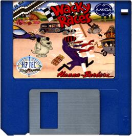 Cartridge artwork for Wacky Races on the Commodore Amiga.