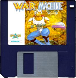 Cartridge artwork for War Machine on the Commodore Amiga.