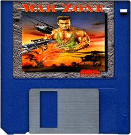 Cartridge artwork for War Zone on the Commodore Amiga.